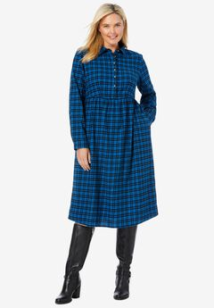 Plaid flannel A-line shirtdress,
