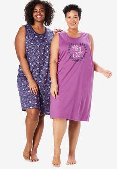 2-Pack Sleeveless Sleepshirt by Dreams & Co.®,