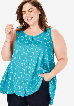 High-Low Button Front Tank, DEEP TURQUOISE DOTTED CIRCLES