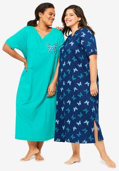 Dreams & Co.® 2-Pack Long Henley Sleepshirt, EVENING BLUE BUTTERFLY