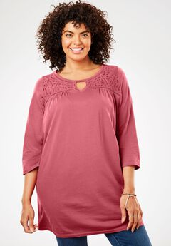 Ladder Lace Yoke Peasant Tunic,
