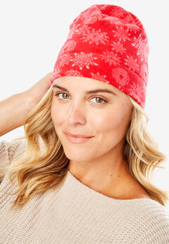 Fleece Hat, RED SNOWFLAKE