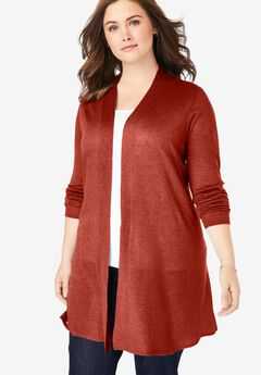 Lightweight Open Front Cardigan, RED OCHRE