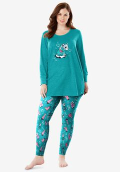 2-Piece PJ Legging Set by Dreams & Co.®, GREEN TURQUOISE BULL DOG