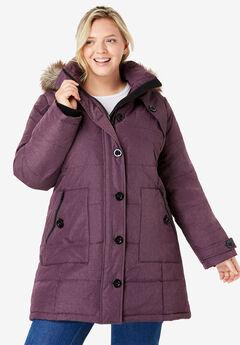 Heathered Down Puffer Coat,