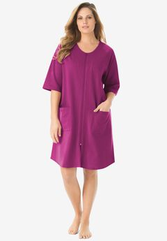 Short French Terry Zip-Front Robe by Dreams & Co.®, RICH MAGENTA
