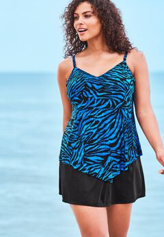 Handkerchief-Hem Tankini Top by Trimshaper by MiracleBrand®.,