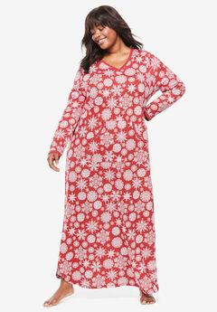Long Printed Sleep Shirt by Dreams & Co.®, RED SNOWFLAKE