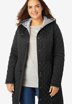 Quilted Reversible Hooded Coat, BLACK PEARL GREY