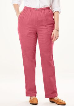 Comfort Waist Straight Leg Corduroy Pant, ROSE BLOOM