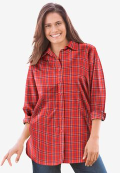 Perfect Long-Sleeve Button Down Shirt, VIVID RED MULTI PLAID