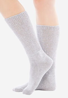 2-Pack Open Weave Extra Wide Socks by Comfort Choice®, HEATHER GREY