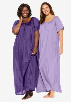 2-Pack Long Silky Gown by Only Necessities®, PLUM BURST SOFT IRIS