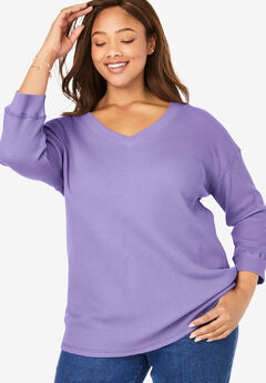 Three-Quarter Sleeve Thermal Sweatshirt,