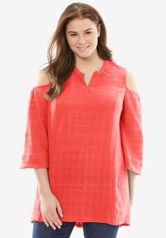 Notch Neck Cold-Shoulder Blouse,