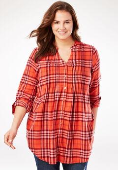 Pintucked Flannel Shirt, SAHARA ORANGE PLAID