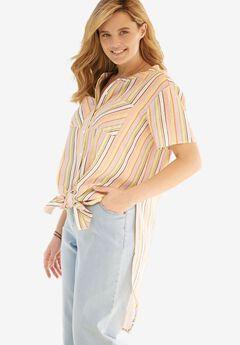 Long Tie-Front Shirt,