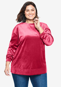Plush Velour Tunic Sweatshirt, CLASSIC RED