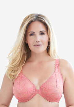 Glamorise® Wonderwire® Stretch Lace Front-Close Underwire Bra #9245,