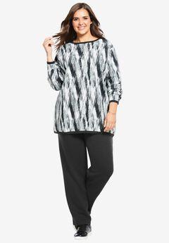 Fleece Sweatsuit, BLACK ABSTRACT