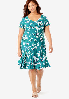 Flounced Hem Dress,