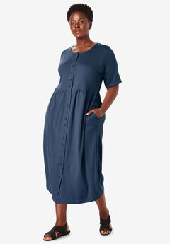Button-Front Essential Dress, NAVY