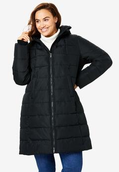 Hooded Puffer Coat, BLACK