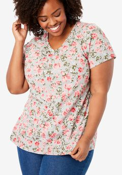 Printed V-Neck Perfect Tee,
