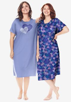 2-Pack Long Sleepshirts by Dreams & Co.®, BLUE SAPPHIRE HEARTS