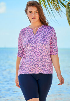 Three-Quarter Sleeve Swim Tee, PINK DIAMOND