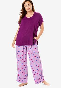 Wide Leg Pant PJ Set by Dreams & Co.®, LIGHT ORCHID HEARTS