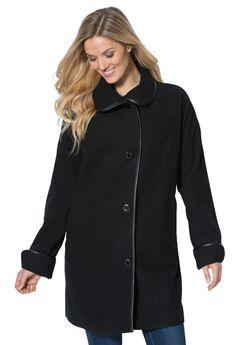 Faux leather trim wool coat,