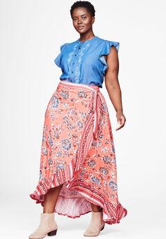 Ruffle Trim Wrap Skirt by Chelsea Studio®,