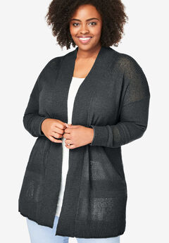 Pointelle Cardigan, BLACK