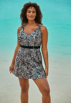 Underwire Belted Swim Dress,
