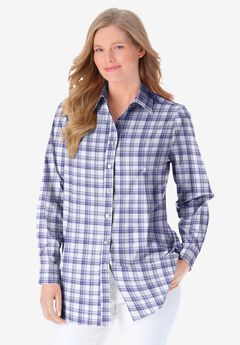 Perfect Long-Sleeve Button Down Shirt, TULIP PURPLE SWEET PLAID