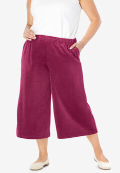 Velour Wide Leg Capri,
