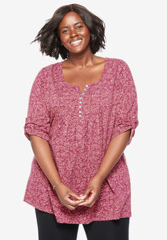 Three-Quarter Sleeve Henley Tunic,