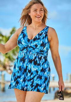 Twist-Front Swim Dress ,