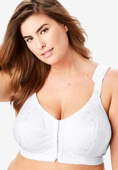 Elila® Jacquard Front-Close Wireless Bra #1515, WHITE