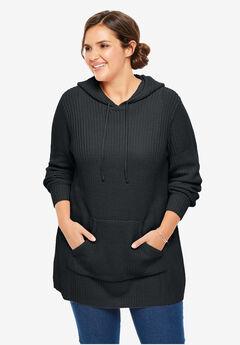 Hooded Pullover Shaker Sweater, BLACK