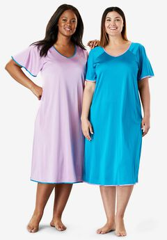 Short tricot knit 2-pack nightgown by Only Necessities®,