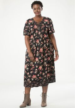 Mixed Print Lace-Up Dress by Chelsea Studio®,