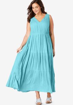 Sleeveless Tiered Crinkle Dress,