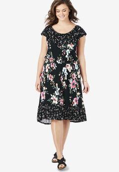 Off-The-Shoulder Print Midi Dress by Chelsea Studio®,