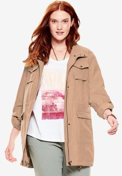Faux Suede Utility Jacket,