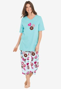 2-Piece Capri PJ Set by Dreams & Co.®, IVORY DONUTS
