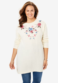 Embroidered Soft Ribbed Fleece Tunic,