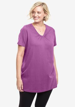 Shirred V-Neck Perfect Tunic,