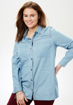 Studded Denim Button-Down Shirt,